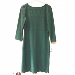 Eyelet Sheath Dress Emerald